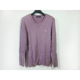 【中古】 バーバリーブラックレーベル Burberry Black Label 長袖セーター サイズ3 L メンズ パープル