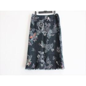【中古】 パラスパレス スカート サイズ3 L レディース 美品 ダークグレー アイボリー マルチ 花柄