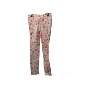 【中古】 エリン エリン フェザーストン パンツ サイズ2 M レディース 白 レッド ピンク キスマーク