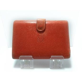 【中古】 ロエベ LOEWE 2つ折り財布 - レッド レザー
