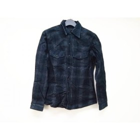 【中古】 リチウムオム 長袖シャツ サイズ3 L メンズ ネイビー グレー コーデュロイ/チェック柄