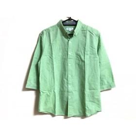 【中古】 ザ ショップ ティーケー 七分袖シャツ サイズL メンズ ライトグリーン コットン麻