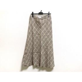 【中古】 スキャパ ロングスカート サイズ40 XL レディース アイボリー ブラウン ベージュ 千鳥格子