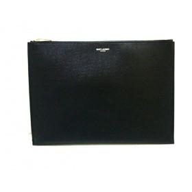 【中古】 サンローランパリ SAINT LAURENT PARIS クラッチバッグ 美品 397294 黒 レザー