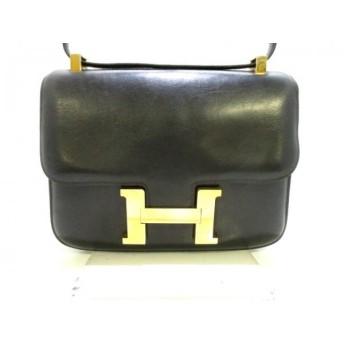 【中古】 エルメス HERMES ショルダーバッグ コンスタンス23 黒 ゴールド金具 ボックスカーフ