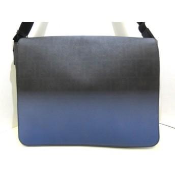 【中古】 フェンディ FENDI ショルダーバッグ ズッカ柄 7VA195 黒 ネイビー PVC(塩化ビニール) ナイロン