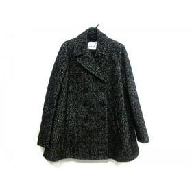 【中古】 アイネア AINEA コート サイズ40 M レディース 黒 アイボリー ヘリンボーン/冬物