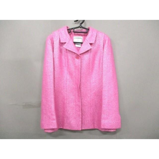 63426e03d85b 【中古】 シャネル CHANEL ジャケット サイズ42 L レディース ピンク ツイード/ラメ/肩