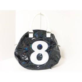 【中古】 ムータ ハンドバッグ 美品 ネイビー 白 スパンコール PVC(塩化ビニール) レザー スパンコール