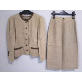 【中古】 シップス SHIPS スカートスーツ レディース ベージュ ダークブラウン