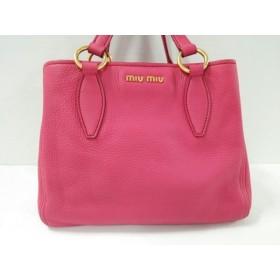 【中古】 ミュウミュウ miumiu ハンドバッグ 美品 - ピンク レザー