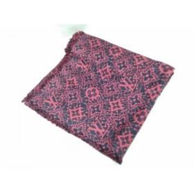 【中古】 ルイヴィトン LOUIS VUITTON ストール(ショール) 美品 M75507 ピンク ネイビー シルク ウール