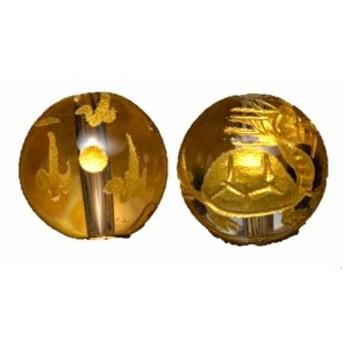 水晶10mm 金彫り 龍亀(ろんぐい) 【彫刻 一粒売りビーズ】 風水 パワーストーン