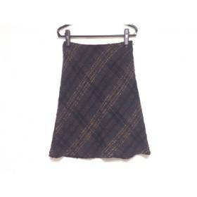 【中古】 ニジュウサンク 23区 スカート サイズ40 M レディース ダークグレー ブラウン マルチ ツイード