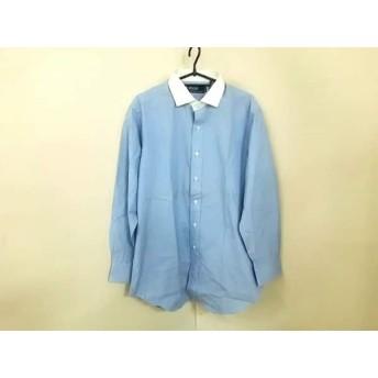 【中古】 ポロラルフローレン POLObyRalphLauren 長袖シャツ サイズ42-82 メンズ ライトブルー 白