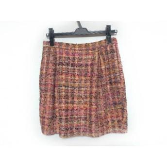 【中古】 ドゥロワー ミニスカート サイズ36 S レディース 美品 ピンク オレンジ マルチ ツイード