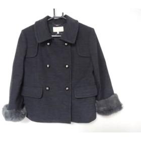 【中古】 アンタイトル コート サイズ2 M レディース 美品 ダークグレー 袖ファー取り外し可/冬物