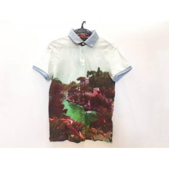 【中古】 エトロ ETRO 半袖ポロシャツ サイズXS メンズ ボルドー ライトグリーン マルチ