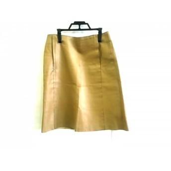 【中古】 バーバリーブルーレーベル スカート サイズ38 M レディース ベージュ レザー