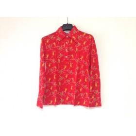 【中古】 マンシングウェア Munsingwear 長袖ポロシャツ サイズM レディース レッド アイボリー マルチ