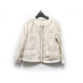 【中古】 アマカ AMACA ジャケット サイズ40 M レディース アイボリー ラメ/ビーズ