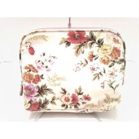 【中古】 ローラアシュレイ バッグ 新品同様 白 ライトグリーン マルチ 花柄 コーティングキャンバス