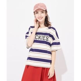 Dickies 【ライトオン40周年記念限定モデル】マルチボーダーロゴTシャツ レディース クリーム