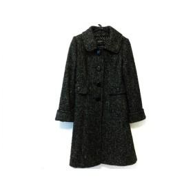 【中古】 ジャスグリッティー JUSGLITTY コート サイズ1 S レディース 黒 白 ラメ/冬物