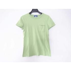 【中古】 バーバリーブルーレーベル 半袖Tシャツ サイズ38 M レディース ライトグリーン 黒 レッド