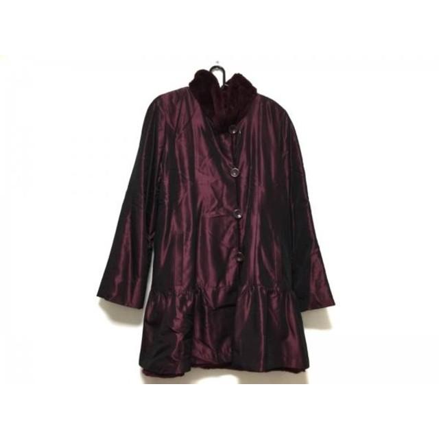 【中古】 エンバ EMBA コート サイズ9 M レディース ボルドー Couture Emba/冬物/ファー