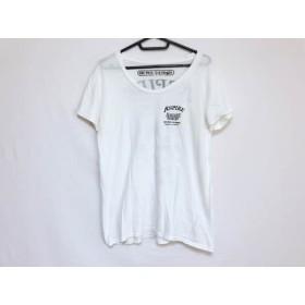 【中古】 ロデオクラウンズ 半袖Tシャツ サイズF レディース アイボリー 黒 ワンピースコラボ コットン