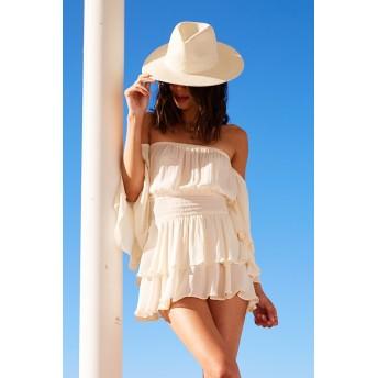 麦わら・ストローハット・カンカン帽 - FOREVER 21 【WOMEN】 【フェドラストローハット】 帽子 白 ホワイト リゾート カンカン帽 麦わら帽子