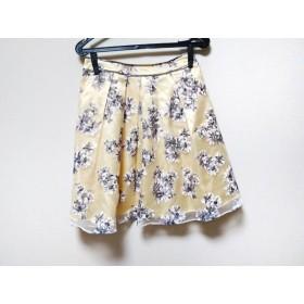 【中古】 クリアインプレッション スカート サイズ2 M レディース 美品 イエロー グレー マルチ 花柄
