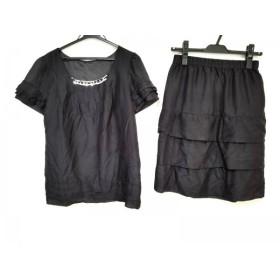 【中古】 ジャスグリッティー スカートセットアップ サイズ2 M レディース 黒 フリル/スパンコール