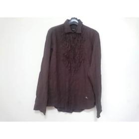 【中古】 バーバリーブラックレーベル 長袖シャツ サイズ2 M レディース ダークブラウン