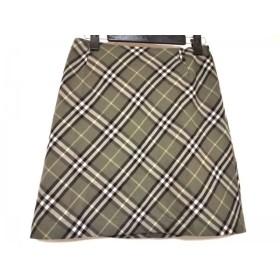 【中古】 バーバリーブルーレーベル スカート サイズ36 S レディース ダークグリーン 黒 マルチ