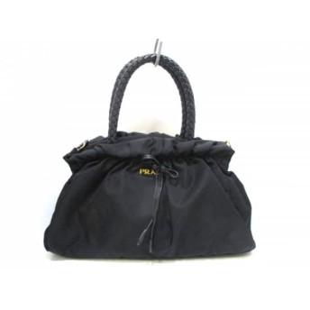 【中古】 プラダ PRADA ハンドバッグ - 黒 編み込み/リボン ナイロン レザー