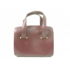 【中古】 カルティエ Cartier ハンドバッグ マストライン ボルドー ゴールド レザー 金属素材