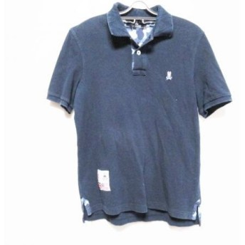 【中古】 サイコバニー PsychoBunny 半袖ポロシャツ サイズL メンズ ネイビー ブルー ライトグレー