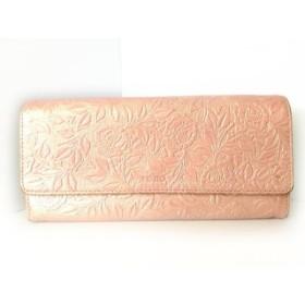 【中古】 ケンゾー KENZO 長財布 ピンクベージュ 型押し加工/花柄 レザー