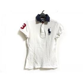 【中古】 ラルフローレン RalphLauren 半袖ポロシャツ サイズL レディース 白 ネイビー マルチ