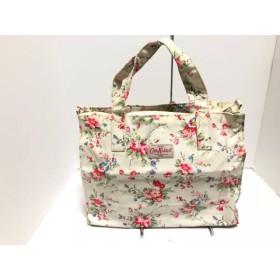 【中古】 キャスキッドソン Cath Kidston ハンドバッグ 白 ピンク マルチ 花柄 コーティングキャンバス