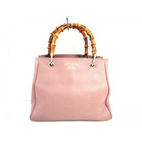 【中古】 グッチ GUCCI ハンドバッグ 美品 バンブーショッパーレザートート 336032 ピンク ブラウン