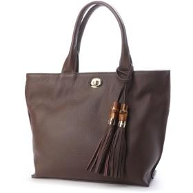 イグジスタンス EXISTENCE バンブータッセル付きシュリンクレザーミニハンドバッグ (チョコ)