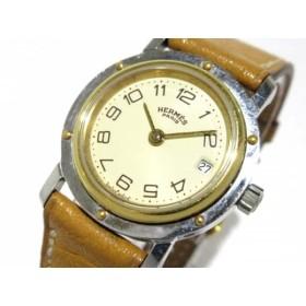 【中古】 エルメス HERMES 腕時計 クリッパー - レディース 革ベルト/〇R アイボリー