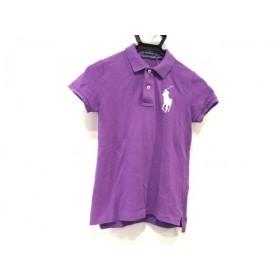 【中古】 ラルフローレン RalphLauren 半袖ポロシャツ サイズM レディース ビッグポニー パープル 白