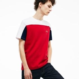 カラーブロック ミニコットンジャカード クルーネックTシャツ (半袖)