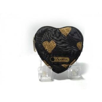 【中古】 レスポートサック LESPORTSAC 小物入れ 美品 黒 ゴールド ハート型 ポリエステル