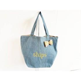 【中古】 シップス SHIPS トートバッグ ライトブルー ゴールド ミニトート/刺繍/リボン デニム