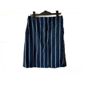【中古】 ポールスミス PaulSmith スカート サイズ42 XL レディース ネイビー ライトブルー ストライプ